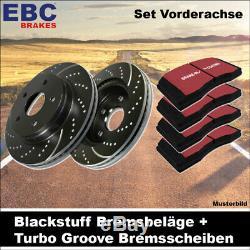 EBC Kit de Freins Essieu Étoffe Noire Plaquettes Turbo Groove Disques 25140