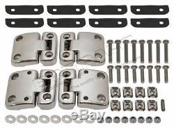 Land Rover Defender Avant Portes Acier Inoxydable Charnières & Support Kit