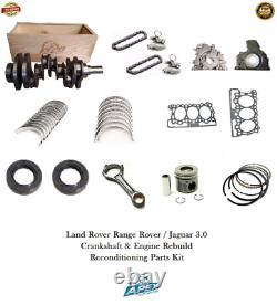 Land Rover Range Rover 3.0 Vilebrequin 306dt Tdv6 Moteur Reconstruire Kit Pièces