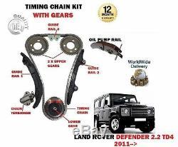 Pour Land Rover Defender 2.2 Td4 122BHP 2011- Distribution Kit Chaîne + Gears