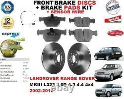 Pour Land Rover Range Frein Avant Disques Set + Kit Plaquettes + Fil Capteur