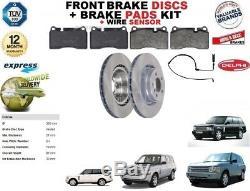 Pour Range Rover Mkiii L322 Disques de Frein avant + Plaquettes+Kit Fil Capteur