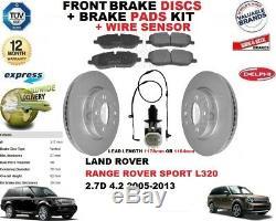 Pour Range Rover Sport L320 Disques de Frein avant + Plaquettes+Kit Fil Capteur